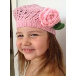Bonnets bébé fille boule Rétro Fleur 0 - 6 ans