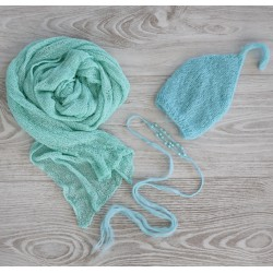 Composition mint : Bonnet, bandeau et wrap stretch