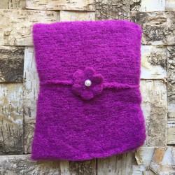 Set wrap et bandeau en mohair, modèle violet prune (réf.21)