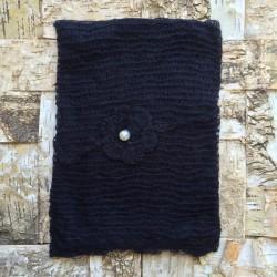 Set wrap et bandeau en mohair, modèle noir (réf.8)