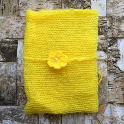 Set wrap et bandeau en mohair, modèle jaune jujube (réf.11)