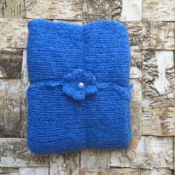 Set wrap et bandeau en mohair, modèle bleu soutenu (réf.22)