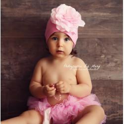 Bonnet fleur bébé/enfant en coton, modèle rose bonbon