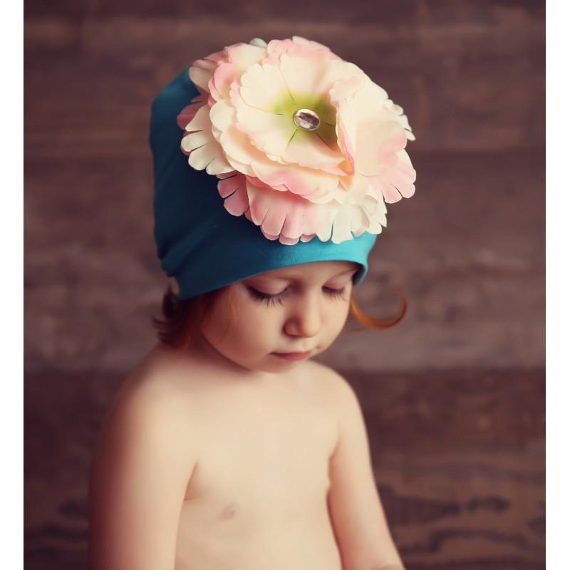 Bonnet fleur bébé/enfant en coton, modèle turquoise et rose
