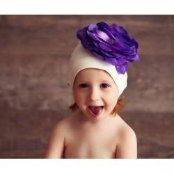 Bonnet fleur bébé/enfant en coton, modèle blanc et violet