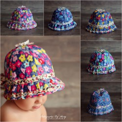Chapeau cloche fleuris  46-50 cm, 5 modèles au choix