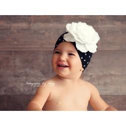 Bonnet fleur coton 1 à 6 ans, modèle petits pois noir moyen
