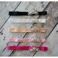 Bandeaux couronne Strass et Perles, modèle Charly, couleur au choix