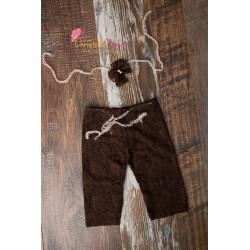 Set dentelle fille 3/6 mois : bandeau et pantalon, couleur au choix
