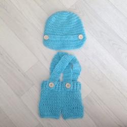 Salopette short à bretelle pour séance nouveaux nés, modèle Dylan