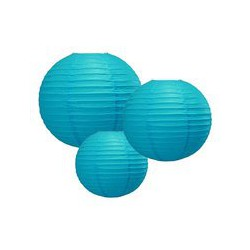 Lanterne ronde turquoise, taille au choix