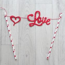 Guirlande décoration de gâteau Love rouge