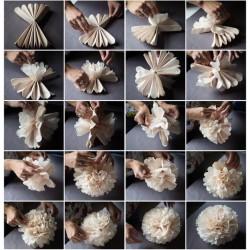 Pompon en papier de soie fuchsia, taille au choix