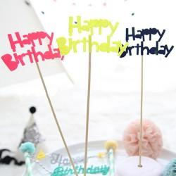 Décoration gâteau Happy Birthday, couleur au choix