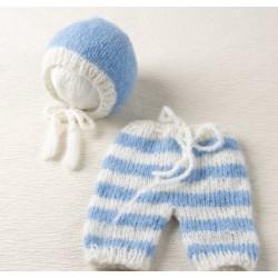 Ensemble pantalon bonnet mohair, modèle Béguin rayé bleu