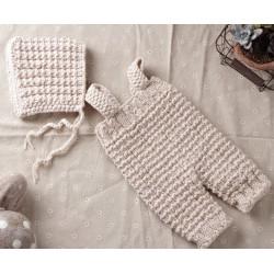 Ensemble combinaison bonnet laine, modèle beige