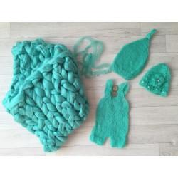 Composition 4 pièces pour shopping nouveaux nés, modèle vert émeraude