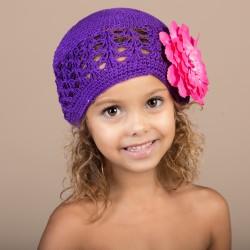 Violet - Fuchsia Bonnet + barrette fleur Pétunia  bébé 0 à 3 ans