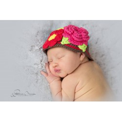 Bonnet boule bébé fille au crochet nouveau né à 3 ans