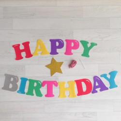 Guirlande Happy Birthday arc en ciel