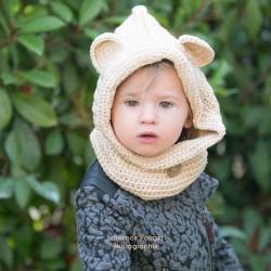 Cagoule col bouffant au crochet 2 à 10 ans, modèle beige clair