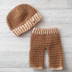 Set pantalon et bonnet naissance, modèle camel