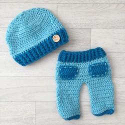 Set pantalon et bonnet naissance, modèle bleu