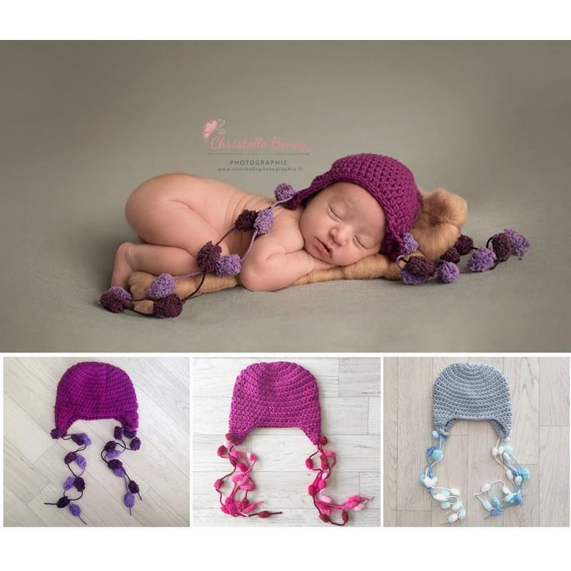 Bonnet pompons 0/1 an, couleur au choix
