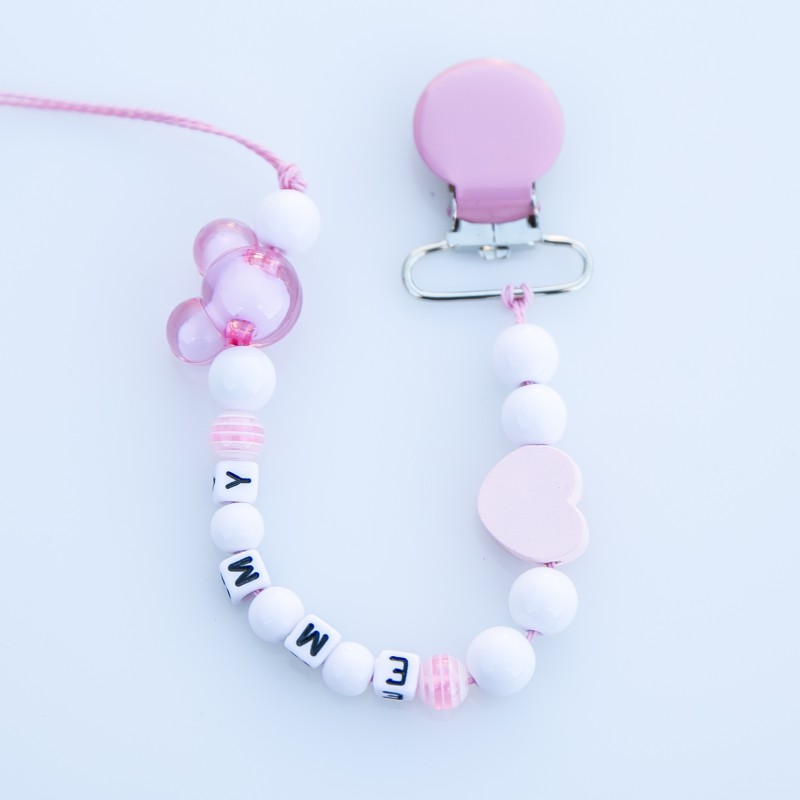 """Attache sucette à personnaliser, modèle """"Minnie"""" blanc/rose pâle"""