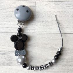 """Attache sucette à personnaliser, modèle """"Minnie/Mickey noeud pap"""" noir et gris argent"""
