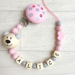 """Attache sucette à personnaliser, modèle """"Little bear"""" gris et rose clair"""