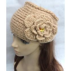 Bandeaux fichu en laine, modèle grosse fleur strass à partir de 5 ans