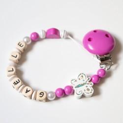 """Attache sucette à personnaliser, modèle """"Papillon scintillant"""" rose bonbon"""