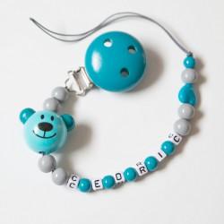 """Attache sucette à personnaliser, modèle """"Little bear"""" bleu canard et gris foncé"""
