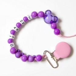 """Attache sucette à personnaliser, modèle """"Minnie"""" violet"""