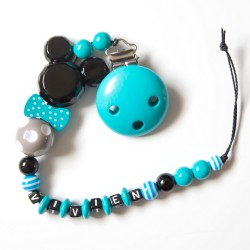 """Attache sucette à personnaliser, modèle """"Minnie/Mickey noeud pap"""" turquoise"""