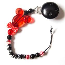 """Attache sucette à personnaliser, modèle """"Minnie/Mickey noeud pap"""" rouge"""
