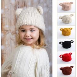 Bonnet ourson grosse laine 1 à 4 ans, couleur au choix