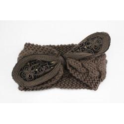 Bandeaux laine, modèle noeud paillettes et dentelle, à partir de 2 ans