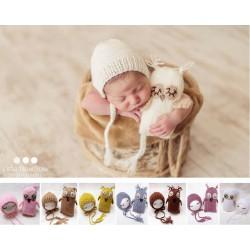Tenue laine pour séance photo nouveaux nés : modèle doudou chouette + bonnet