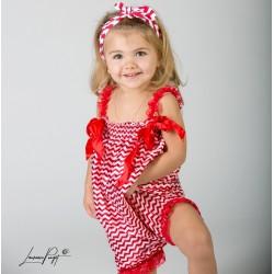 Salopette bébé Bubble façon sarouel, modèle Zig Zag rouge