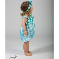 Salopette bébé Bubble façon sarouel, modèle Zig Zag turquoise