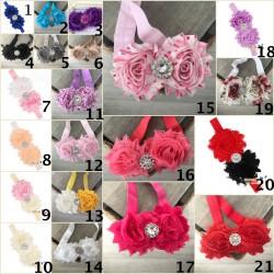 Bandeaux cheveux bébé/enfant double roses tissu, couleur au choix