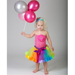 Ensemble avec jupe tulle rubantée modèle arc en ciel 2 à 6 ans