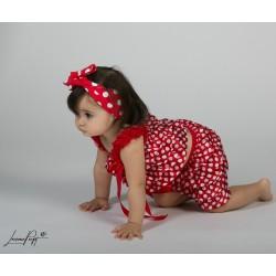 Short + top bretelle en dentelle, modèle polka rouge