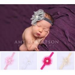 Bandeau cheveux bébé/fille, modèle dentelle et tulle rose