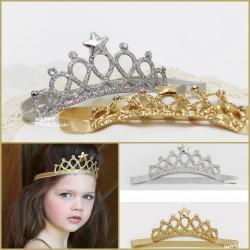 Bandeau  couronne little princesse, modèle or ou argent