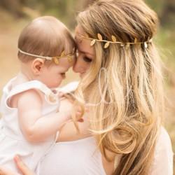 Bandeau comme maman, modèle fines feuilles, couleur doré ou argent au choix