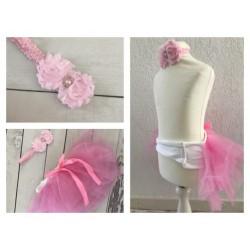 Ensemble jupe et bandeau, jupe spécial shooting bébé à scratch, modèle rose bonbon