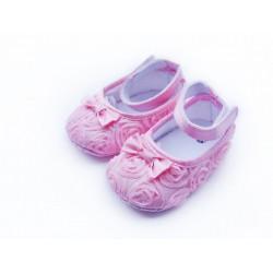 Chaussure souple bébé 0 à 12 mois, modèle ballerine soie